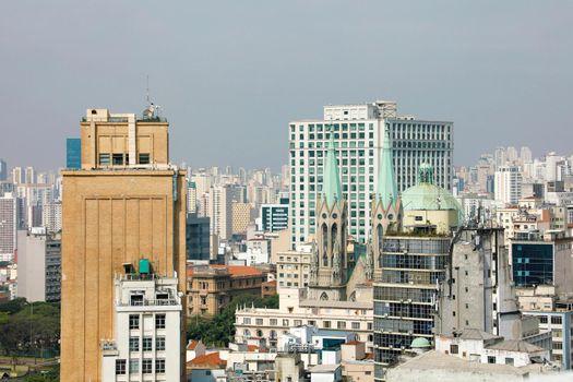 SAO PAULO, BRAZIL - MAY 10, 2019: Sao Paulo Skyline Downtown with Cathedral Brazil
