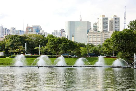 Panoramic view of Ibirapuera Park with Sao Paulo cityscape, Brazil
