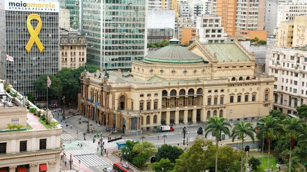 SAO PAULO, BRAZIL - MAY 15, 2019: cityscape with Municipal Theatre of São Paulo, Brazil