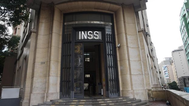 SAO PAULO, BRAZIL - MAY 16, 2019: facade of National Institute of Social Security know as INSS