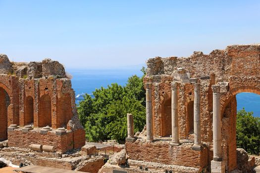 Ruins of the Ancient Greek Theater in Taormina, Sicily