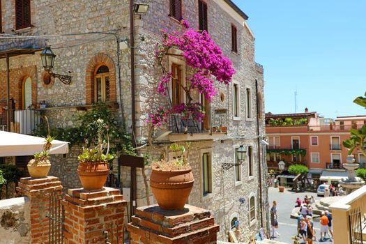Beautiful palace in cozy street in Taormina, Sicily