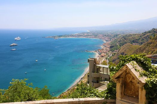 Panoramic aerial view of Taormina in Sicily, Italy