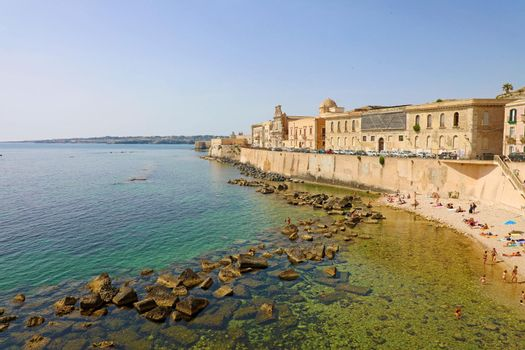 Cityscape of Ortygia, the historical center of Syracuse, Sicily, Italy