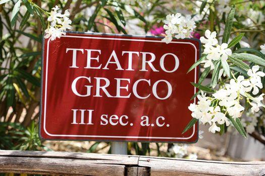 Teatro Greco sign in Syracuse, Sicily