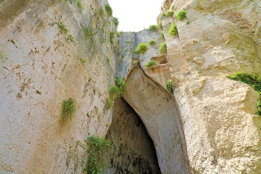 Limestone cave Ear of Dionysius (Orecchio di Dionisio) a cave with acoustics effects inside, Syracuse (Siracusa), Sicily, Italy