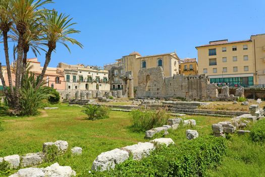 Temple of Apollo, ancient Greek monument in Ortigia, Syracuse, Sicily, Italy