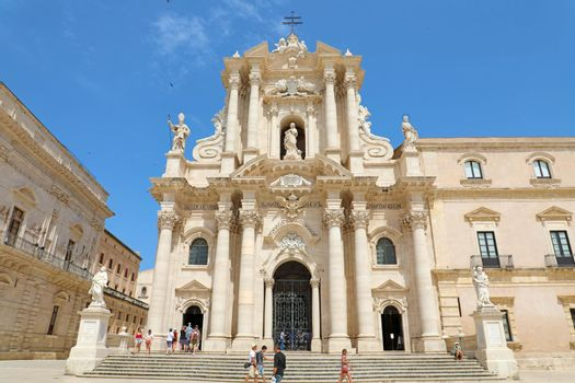 SYRACUSE, ITALY - JUNE 22, 2019: The Cathedral of Syracuse in Siciliy, an UNESCO World Heritage Site in Italy