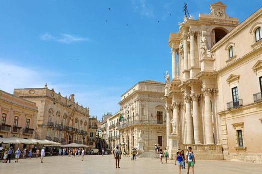 SYRACUSE, ITALY - JUNE 22, 2019: Piazza del Duomo square with the Cathedral,  UNESCO World Heritage Site in Syracuse, Sicily