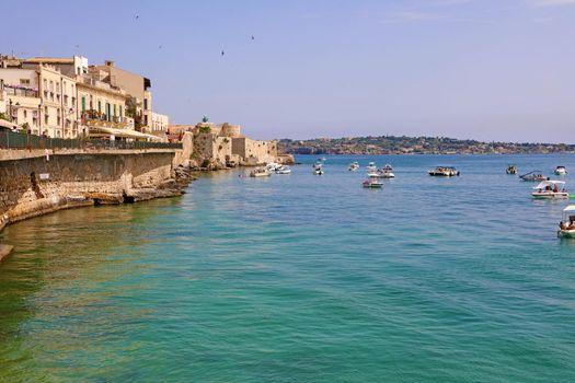 Coast of Ortigia Island on Syracuse city, Sicily, Italy
