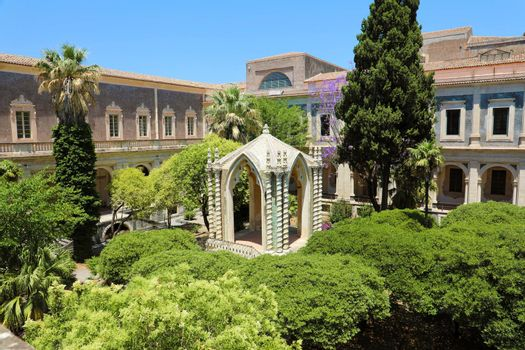 Cloister of the Benedictine Monastery of San Nicolo l'Arena in Catania, jewel of the late Sicilian Baroque style, Sicily, Italy
