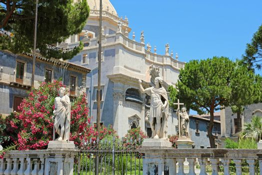 Detail of statues of Piazza del Duomo square in Catania, Sicily, Italy