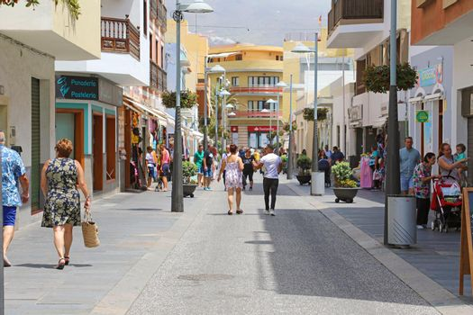 CANDELARIA, SPAIN - JUNE 1, 2019: main street Candelaria town, Tenerife, Spain