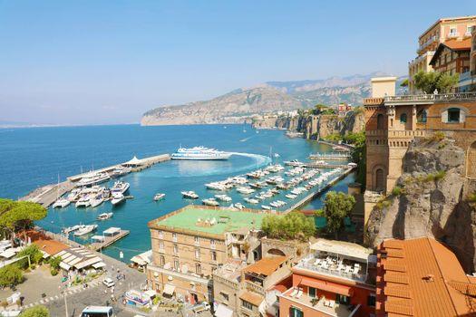 Amazing view of Sorrento town on Mediterranean sea, Italy.