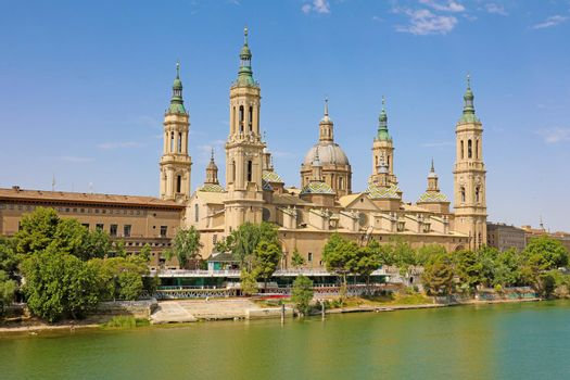 Basilica Cathedral of Our Lady of Pillar and Ebro River in Zaragoza, Aragon, Spain