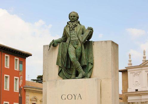 Statue of Goya in the center of Zaragoza, Spain