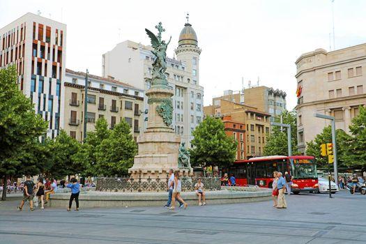 ZARAGOZA, SPAIN - JULY 1, 2019: Plaza Espana square, Zaragoza, Spain