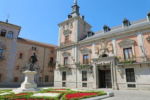 """To Don Alvaro de Bazán"" statue in Plaza de la Villa square, Madrid, Spain"