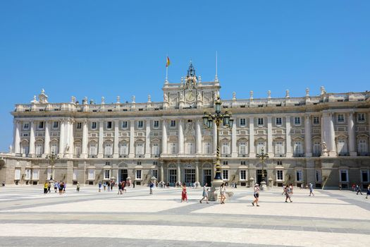 MADRID, SPAIN - JULY 2, 2019: Royal Palace of Madrid, official residence of the Spanish Royal Family