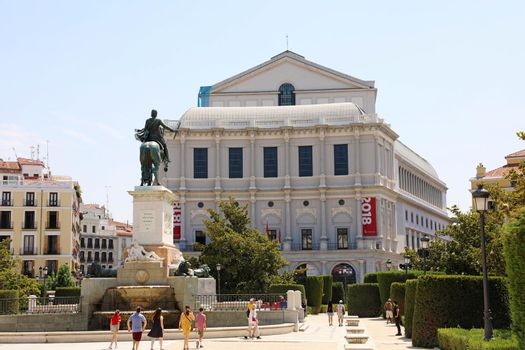MADRID, SPAIN - JULY 2, 2019: Teatro Real (Royal Theatre) is a major opera house located in Madrid
