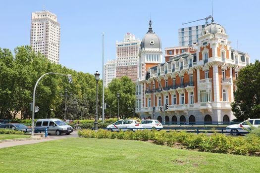 MADRID, SPAIN - JULY 2, 2019: Palace in Calle Bailen Street, Madrid, Spain