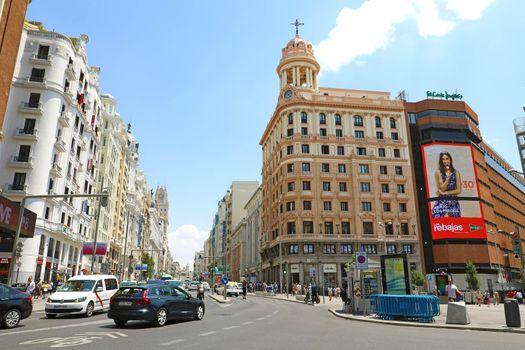 MADRID, SPAIN - JULY 2, 2019: Gran Via Avenue Cityscape Madrid, Spain