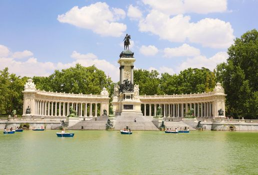 MADRID, SPAIN - JULY 2, 2019: Monument to Alfonso XII in Buen Retiro Park, Madrid, Spain