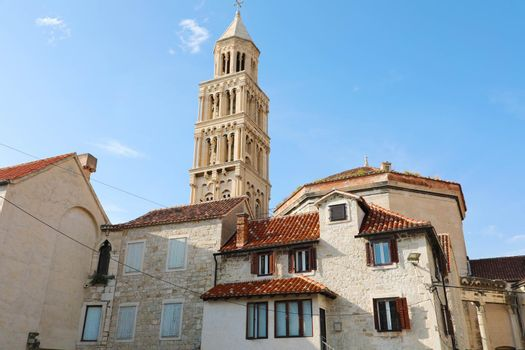 Scene from the old town of Split with the old bell tower