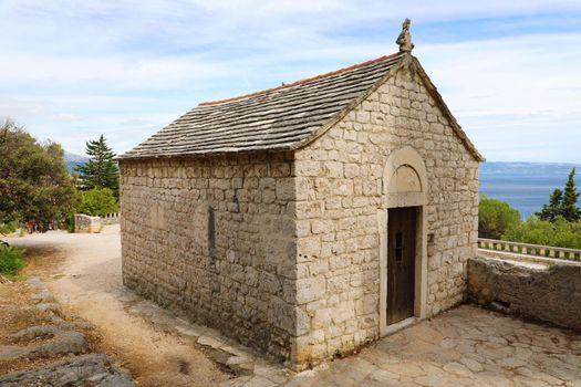 Stone house chapel on the hill in Marjan Park, Split, Croatia