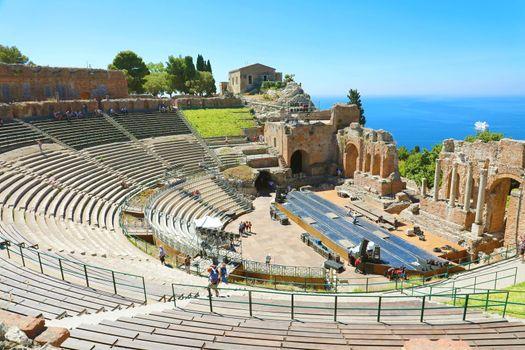 TAORMINA, ITALY - JUNE 20, 2019: Greek Theater of Taormina in Sicily, Italy.