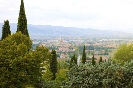 Panoramic view from Assisi of countryside and landscape of Umbria, Italy.