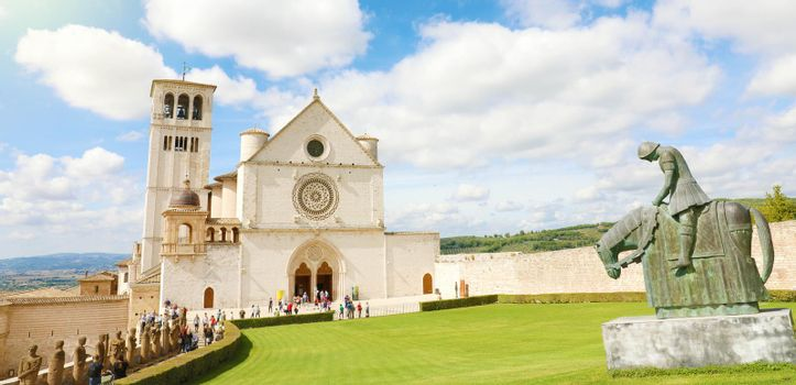 Panoramic view of Basilica of Saint Francis of Assisi, Italy.