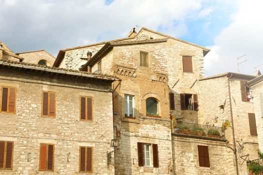 Detail of typical old medieval buildings in Italy.