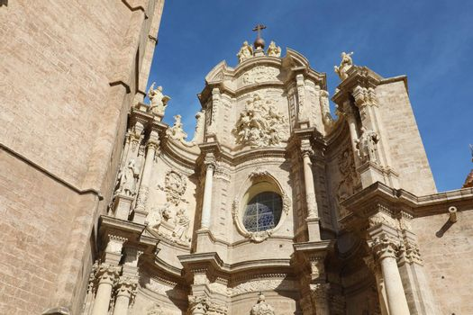 Saint Mary Cathedral detail in Valencia, Spain. Baroque style architecture.