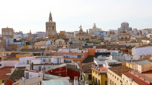 Valencia cityscape from Torres de Serranos, Spain, Europe