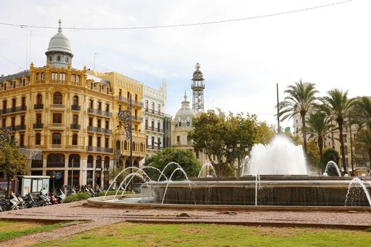 VALENCIA, SPAIN - NOVEMER 28, 2019: Plaça de l'Ajuntament square in Valencia, Spain
