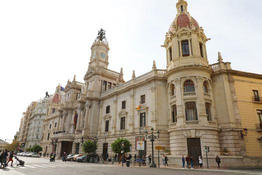 VALENCIA, SPAIN - NOVEMBER 28, 2019: Valencia City Hall, Spain