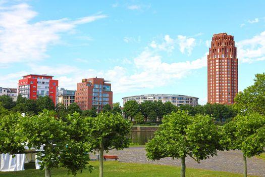 Frankfurt am Main green park and cityscape, Germany