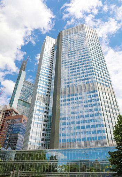 FRANKFURT, GERMANY - JUNE 13, 2019: Eurotower skyscrapers in Frankfurt, Germany
