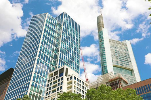 FRANKFURT, GERMANY - JUNE 13, 2019: business and finance concept  district in Frankfurt am Main, Germany