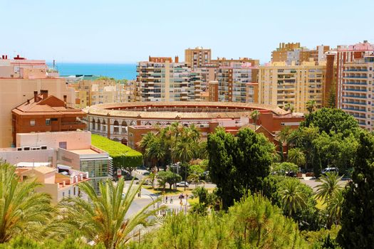 View of the city of Malaga, with the bullring, Spain