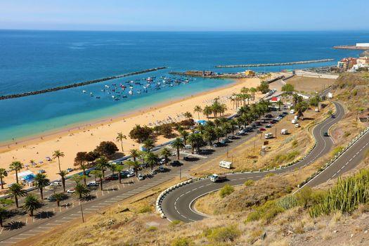 Panoramic view of Las Teresitas Beach, Tenerife, Spain