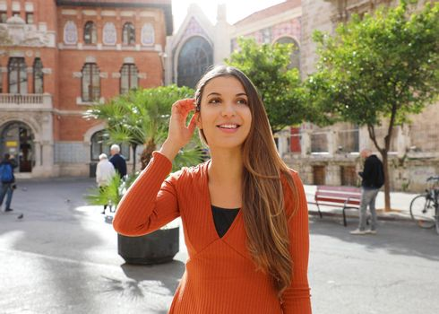 Travels in Spain. Young beautiful woman visits the city of Valencia, Spain, Europe.