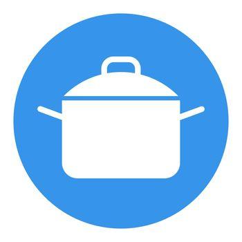 Saucepan white glyph icon. Cooking pot or pan sign