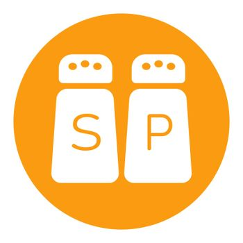 Salt and pepper condiment shakers vector white glyph icon