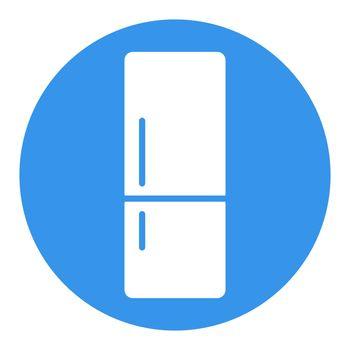 Refrigerator vector white glyph icon. Kitchen appliance