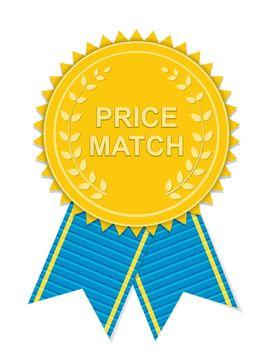 Gold Label Price Match. Vector Illustration