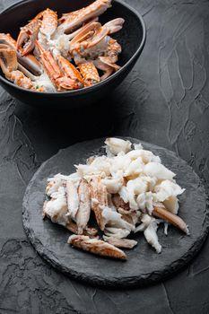 Boiled crab food, on black background