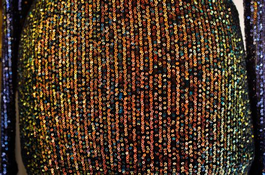 Sequin abstract sequence fabric Textile Glitter Background.