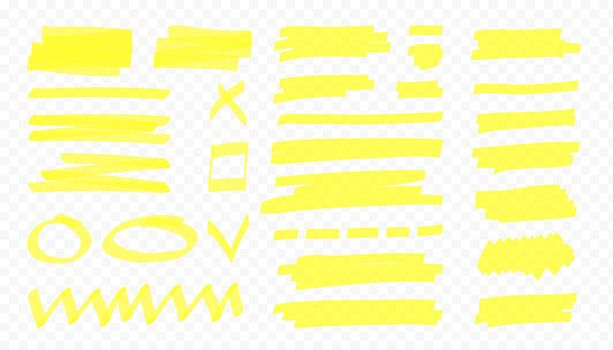 Yellow highlight lines and shape. Japan highlighter marker stripes. Vector hand drawn color elements.